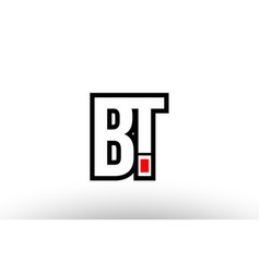 Red and black alphabet letter bt b t logo vector