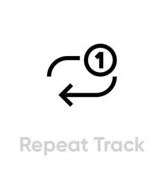 repeat track music player icon editable line vector image