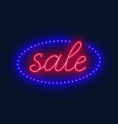 sale neon sign advertising board on dark vector image