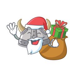 Santa with gift viking helmet in a cartoon vector
