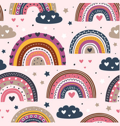 seamless pattern with love rainbows vector image
