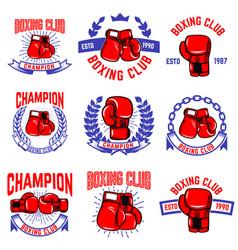 Set boxing club emblems boxing gloves design vector