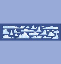 Set floating glacier iceberg in north sea vector