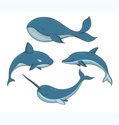 Set of blue underwater creatures with whales vector