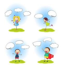 set people with speech balloon vector image