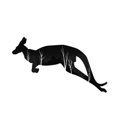 silhouette of a kangaroo with pine forest vector image