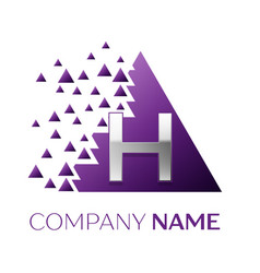 silver letter h logo in the purple pixel triangle vector image
