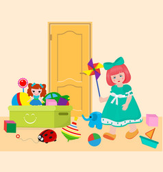 small girl in game room playing with toys on door vector image