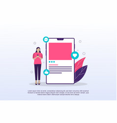 social media concept with tiny people can use vector image