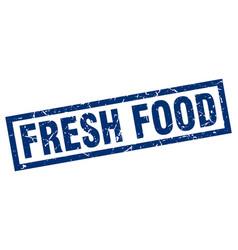 Square grunge blue fresh food stamp vector