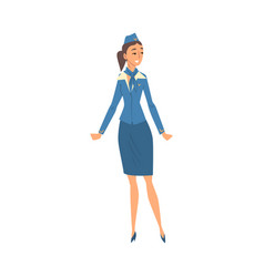 stewardess in blue uniform flying attendant or vector image