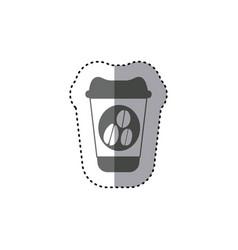 Sticker monochrome silhouette glass disposable for vector