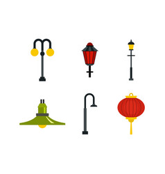 street lamp icon set flat style vector image