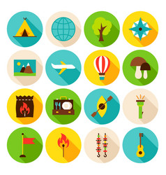 summer camp circle icons set vector image