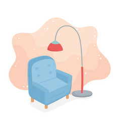 Sweet home sofa with floor lamp decoration vector