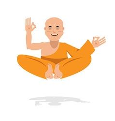 Tibetan monk in an orange robe Novice yoga vector