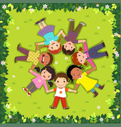 top view of kids lying on the grass in a circle vector image