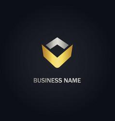 v initial shape gold logo vector image