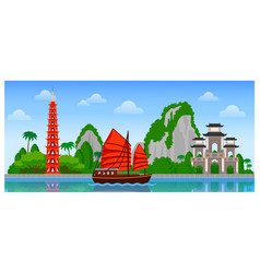 Vietnam skyline with colorful buildings and blue vector