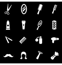 white barber icon set vector image