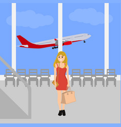 Woman at the international airport vector