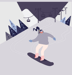 woman on snowboard in snow mountains winter vector image
