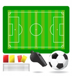 soccer field ball and objects vector image vector image