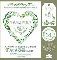 wedding invitation setgreen watercolor branches vector image vector image