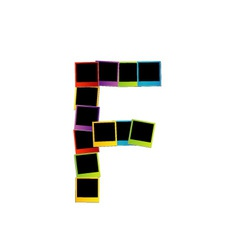 Alphabet F with colorful polaroids vector image vector image