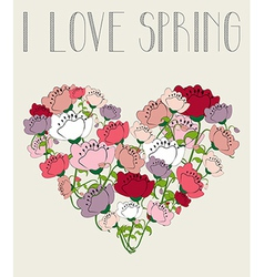 I love spring heart background vector image