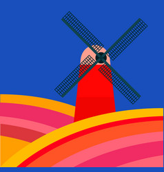 mill with tulipan fields on a blue background vector image