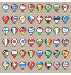 Set of Cartoon Map Pointers With World States vector image
