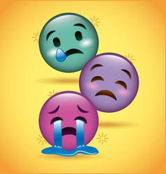 three smiles emoji crying sad expression vector image vector image