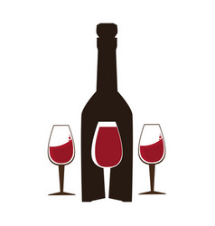 background wine bottle and glass cups vector image
