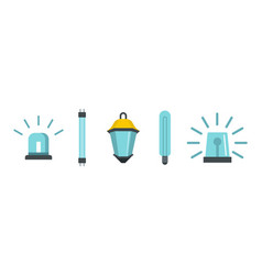 blue light icon set flat style vector image