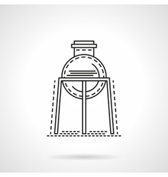 Flat line rack with flask icon vector image