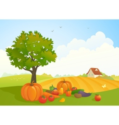 Harvest landscape vector image