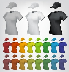 Plain women cap and t-shirt template vector image vector image