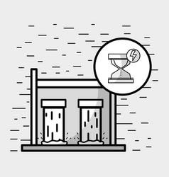 Tanks to hydraulic energy with hourglass symbol vector