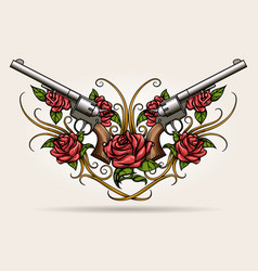 two guns and rose flowers drawn in tattoo styl vector image