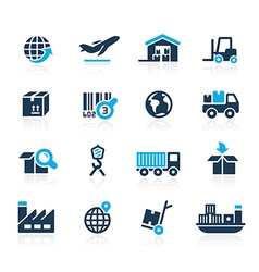 Industry and logistics Icons Azure vector image