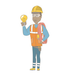 young african electrician holding a lightbulb vector image vector image