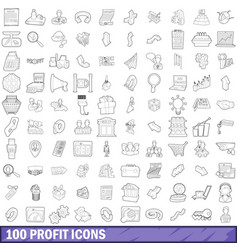 100 profit icons set outline style vector