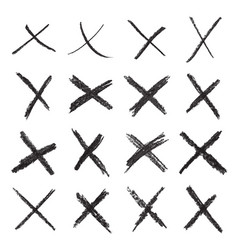 16 handwritten x marks vector
