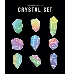 80s crystal set colorful icons and symbols vector image
