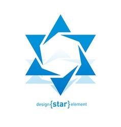 Abstract design element blue David star vector image
