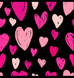 Abstract seamless pattern of pink hearts on black vector