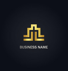 Abstract shape line building company gold logo vector