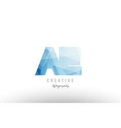 Ae a e blue polygonal alphabet letter logo icon vector