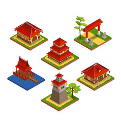 Asian buildings isometric set vector